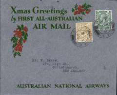 "(GB External) First acceptance of mail for New Zealand, for carriage on Kingsford Smith's postponed ""All Australian"" return flight carrying Christmas 1931 mails, London to Christchurch, bs 28/1 (only a few items were bs, see Walker), via Sydney 21/132, ANA grey blue/green 'Holly' Xmas Greetings cover, correctly rated 1/4, canc London 17/12, Australian National Airways. Francis Field authentication hs verso."