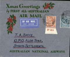 "(GB External) Kingsford Smith's postponed ""All Australian"" return flight carrying Christmas 1931 mails, London to Straits Settlements, bs 15/Jan 32, Smye ANA Xmas Greetings cover, rated 1/- canc London/7 Dec 31/Air Mail cds, Australian National Airways."