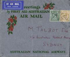"(GB External) Australian National Airways, return of ""All Australian"" flight carrying Christmas 1931 mails, London to Sydney, b/s , red/green/grey ANA Xmas Greetings cover, franked 1/4d canc London  21 Dec 31 cds. Ironed vertical crease, otherwise fine."
