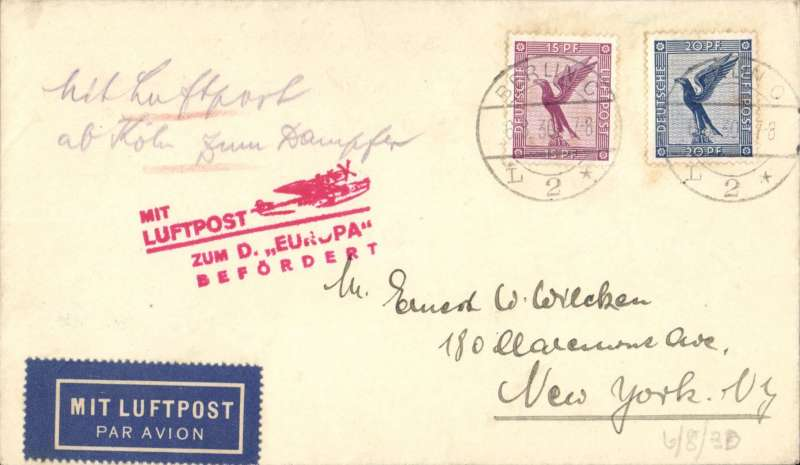(Ship to Shore) German North Atlantic Catapult Flight, Europe to New York, no arrival ds, plain cover franked 15pf, 20pf 1926 air, canc Berlin C/L2 cds, inland origin, red supplementary flight cachet, no advisory cachet, Graue and Leder K39 c(1)	£45.00