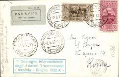 (Italy) First Meeting of the Conference of Transoceanic Aviators, special flight from Venice to Rome, 'Roma Ferrovia/Posta Aerera/2.6.32' arrival ds on front, commemorative B7W PPC showing General Balbo going ashore, franked 70c, green framed special commemorative cachet. Nice item.