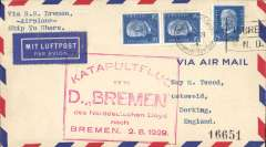 (Ship to Shore) German North Atlantic Catapult Flight, Bremen-England, no arrival ds, red framed flight cachet, plain cover franked Germany 25pf x3 (one has a corner fault). Signed by the captain  L. Ziegenbein.