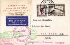 "(Airship) Graf Zeppelin Round the World Flight, Friedrichshafen to Lakehurst, green Lakehurst Aug 29, 1929 receiving cachet on front, souvenir B&W PPC printed ""Friedrichshafen (Bodensee) -Lakehurst"" and showing Graf Zeppelin flying over river bridge, franked 4M (Stanley Gibbons number 445 catalogue £32) and 1M (Stanley Gibbons number 397), on board 16/8/29 cancel, red circular flight confirmation cachet, dark blue/white airmail etiquette."