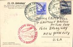 (Airship) Airship, Eighth North America flight of the Hindenburg, Frankfurt-Lakehurst, no arrival ds, On Board postmark, red flight confirmation cachet, attractive B&W PPC, franked 65pf showing L129 Hindenburg leaving hangar in Rhein-Main near Frankfurt.