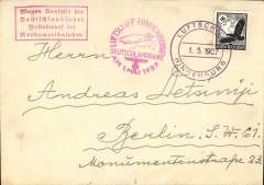 (Ship to Shore) Hindenburg, cancelled Germany flight, plain cover franked 100pf, on board postmark, magenta flight confirmation cachet, red framed flight cancellation hs, Cologne drop.