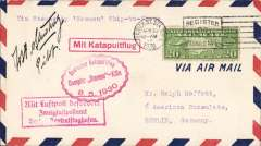 (Ship to Shore) German North Atlantic Catapult Flight, New York to Europe, red framed 'Mit Luftpost befordert/Zweiglftpostaftampt/Berlin Zentralflughafen',  circular Berlin 'Berlin C2/8.5.30' arrival cachet verso, plain cover franked US 20c air, canc Varick St/30/4/30, inland origin, red flight cachet, red framed 'Mit Katepultflug' advisory cachet. Signed by the captain Jobst von Strudnitz. A neat hand drawn map, 16x9cm, of route accompanies this item.