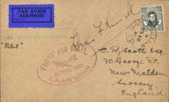 "(Ireland) Experimental flight Galway to London, red oval cachet, green straight line ""1st Galway-London"" cachet, buff cover franked 20a, canc Galway cds, Irish Airways Ltd. Francis Field authentication hs verso. Signed by pilot Col. Charles F. Russell."