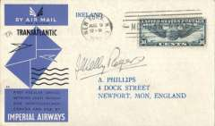 (United States) Imperial Airways return of first British Airmail service, New York to Southampton, no arrival ds, blue/back/grey official souvenir cover, franked 30c air, canc New York cds, signed by Cap. Kelly Rogers. Super item in fine condition. Also head and shoulders picture (not photo) of Cap. Kelly Rogers.