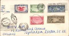 (United States) San Francisco acceptance for F/F FAM18 Southern North Atlantic route, New York-Marseillies,  bs 22/5, plain cover, attractive franking, canc San Francisco May 17, Pan Am.
