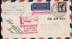 """(Ship to Shore) Cover to New York, private 'Sep 19 1930' reception hs verso, German seapost, franked 1M canc Europa twin circle ds, red """"Deutscher Katapultflug/ D, Europa/New York am 15. September 1930"""" flight cachet, red """"Mit Katapultflug"""" hs, boxed blue """"Mit/Katapultflug-Damfer/Bremen-New York"""". Signed by the pilot, Capt. Jobst von Studnitz."""