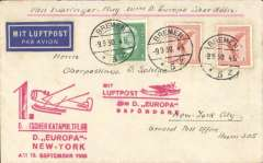 """(Ship to Shore) First westbound catapult airmail flight from 'Europa', and also carried on a Koln-Cherbourg supplimentary flight, Bremen to New York, airmail etiquette cover franked 105pf, red supplementary and red Europa flight cachets, ms """"Mit Zubringer Flig zum D. Europa uber Koln"""". Graue and Leter K47c."""