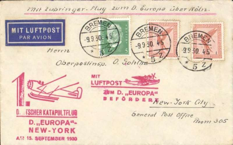 "(Ship to Shore) FIRST WESTBOUND CATAPULT airmail flight from 'Europa', and also carried on a Koln-Cherbourg supplimentary flight, Bremen to New York, airmail etiquette cover franked 105pf, red supplementary and red Europa flight cachets, ms ""Mit Zubringer Flig zum D. Europa uber Koln"". Graue and Leter K47c."