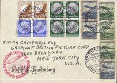 (Airship) Airship, Tenth North America flight of the Hindenburg, Frankfurt-Lakehurst, no arrival ds, on Board postmark, red flight confirmation cachet, Hindenburg souvenir cover addressed to the Gaumont British Picture Group, Broadway, franked 700pf, some toning. on Zep stamps.