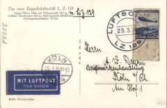 (Airship) Hindenburg First Mail Flight, Friedrishchafen to Friedrishchafen, Attractive B&W photocard franked 50pf, canc black 'Luftschiff/23.3.36/LZ 29' on board postmark, Koln 25/3 arrival ds on front. Picture shows LZ 29 'rising for the first time'. Some toning on 50pf Zeppelin stamp.