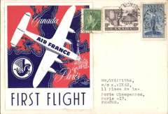 (Canada) Air France F/F Montreal to Paris, bs Paris Aviation 6/10, plain cover franked 15c, one stamp ties a superb red/white/blue souvenir label of this flight.