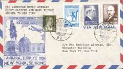 (Turkey) F/F FAM 18, Ankara to New York, bs 23/2, large blue cachet, b/s, Pan Am
