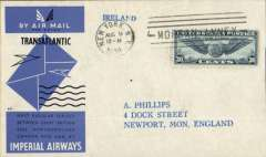 (United States) New York to Eire, no arrival ds, carried on Imperial Airways first return Trans-Atlantic flight, official cover franked 30c.