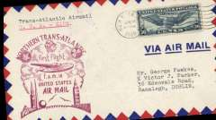 (United States) Pan Am FAM 18 F/F New York-Foynes, b/s, official magenta cachet on front, Foynes purple arrival cachet verso, airmail cover.