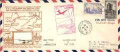 (France) Scarcer Crosby cacheted cover, 24x10cm, Pan Am Yankee Clipper Trans-Atlantic F/F via Southern route, Marseilles to New York, bs 27/5, fine gold Crosby cachet, official red flight cachet, airmail cover. Popular with collectors, but not easy to find.