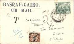 "(Iraq) Underpaid airmail cover from Basrah to Cardiff, UK, plain cover franked 6 annas canc Basrah cds, GB 5d postage due canc Cardiff 12 Mar 28 cds on front, fine strike large blue two line ""Basrah-Cairo/Air Mail"" hs, also black 'T' and '5d I.S.*/N' underpaid hand stamps."