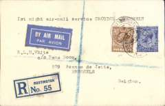 "(Belgium) SABENA/Imperial Airways 1st night flight London to Brussels, no arrival ds, registered airmail etiquette cover franked 7 1/2d, typed ""1st night air mail service Croydon-Brussels""."