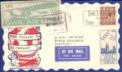 (GB Internal) F/F Great Western Railway daily air service, Torquay to Cardiff, Philatelic Magazine cover franked GWR 3d Airway label tied violet framed 'Torquay R.C./15 May 1933/G.W.R.' cachet Terminal' canc, Cardiff 15 May 1933 arrival cds.