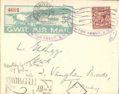 """(GB Internal) Scarce, Great Western Railway, first acceptance at Newton Abbot for Birmingham, cancelled on arrival at Birmingham, Jul 17 cds tying GWR 3d Air Stamp cancelled violet """"Parcels Office/Jul 17 1933/Newton Abbot G.W.R."""" hs.  Francis Field authentication hs verso."""