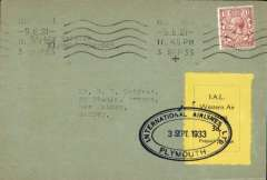 """(GB Internal) International Airlines/Western Air Express, Plymouth to London, scarce late usage of short lived service, plain cover franked 1 1/2d cancelled on arrival London 3 Sep 33, black/yellow 'IA/Western Air Express' stamp canc black oval """"International Airlines/3 Sep 1933/Plymouth"""". This service was poorly advertised and short lived. Relatively few covers were carried and none are common. Covers exist carried on 24, 25 and 26 August and 1 Sept, 1933. Covers carried on other dates may exist but """"I have not seen any"""". See Redgrove p18."""