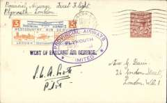 """(GB Internal) Provincial Airways Ltd, inauguration of the third GB Internal Airmail Service, """"West Country Air Service, Plymouth to London, plain cover franked 1 1/2d postmarked London machine cancel, posted on arrival, 3d bi-coloured vignette tied by Provincial Airways/Plymouth oval depart cachet, black st line """"West of England"""" cachets front and verso. Signed by the pilot S.W.A.Scott. The service operated for six days only"""