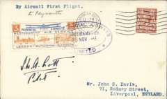 """(GB Internal) Provincial Airways Ltd, inauguration of the third GB Internal Airmail Service, """"West Country Air Service, Southampton to Plymouth, plain cover franked 1 1/2d postmarked Plymouth machine cancel, posted on arrival, 3d bi-coloured vignette tied by Provincial Airways/Southampton oval depart cachet, typed 'By Airmail First Flight'. Signed by the pilot S.W.A.Scott. The service operated for six days only"""