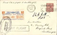 """(GB Internal) Provincial Airways Ltd, inauguration of the third GB Internal Airmail Service, """"West Country Air Service, Croydon to Southampton, plain cover franked 1 1/2d postmarked Southampton machine cancel, posted on arrival, 3d bi-coloured vignette tied by Provincial Airways/ Croydon oval depart cachet, typed 'By Airmail First Flight'. Signed by the pilot S.W.A.Scott. The service operated for six days only"""