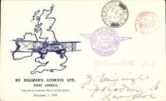 """(GB Internal) Hillman Airways, Ninth Inland Airmail Service, London-Liverpool-Belfast-Glasgow, London to Liverpool, 8pm 1 Dec 34 arrival cds on front, violet """"Liverpool Airport Traffic Control"""" arrival cachet. Blue/cream Davis souvenir cover. This cover was sent to the GPO London and arrived there at 4am Dec 1st and was not stamped. So the PO marked it with a red """"London/1 1/2d {AID/30 Nov 34"""" cds instead. A nice item for the exhibit in fine condition."""