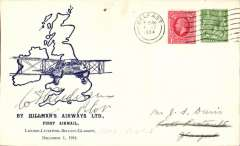(GB Internal) Hillman Airways, F/F tenth GB Inland Airmail Service London-L'pool-Belfast-Glasgow service, Belfast to Glasgow, bs 1/12, posted 8.45am, blue/ivory Davis cover, signed by pilot W. T. Anderson pilot.