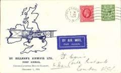 (GB Internal) Hillman Airways, F/F tenth GB Inland Airmail Service London-L'pool-Belfast-Glasgow service, Glasgow to London, posted 6.00am, blue/ivory Davis cover franked 1 1/2d. Signed by the pilot C.E.N. Pelly.