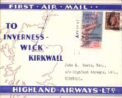 """(GB Internal) Highland Airways F/F Inverness to Kirwall, red/blue/ivory Company envelope printed specially for this flight showing outline map North of Scotland and  map of route, franked 1 1/2d, canc Inverness cds, special red/blue vignette cancelled """"Arrival/Dec 1/Kirkwall"""" hs.  Flown covers bearing the special vignette are """"considerably less common than plain covers"""", see Redgrove, p43. Only 20 of these company envelopes were flown from Inverness to Kirwall, Redgrove p46."""