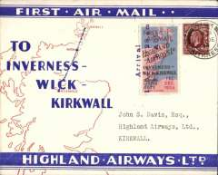 """(GB Internal) Highland Airways F/F Wick to Kirwall,  red/blue/ivory Company envelope printed specially for this flight showing outline map North of Scotland and  map of route, franked 1 1/2d, canc Wick cds, special red/blue vignette cancelled """"Arrival/Dec 1/Kirkwall"""" hs,, signed by the pilot Capt. Fresson. Flown covers bearing the special vignette are """"considerably less common than plain covers"""", see Redgrove, p43."""