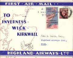 """(GB Internal) Highland Airways F/F Kirkwall to Wick, bs 1/12, red/blue/ivory Company envelope printed specially for this flight showing outline map North of Scotland and  map of route, franked 1 1/2d, canc Kirkwall cds, special red/blue vignette cancelled """"Arrival/Dec 1/Wick"""" hs, signed by the pilot Capt. Fresson. Flown covers bearing the special vignette are """"considerably less common than plain covers"""", see Redgrove, p43."""