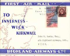 """(GB Internal) Highland Airways F/F Inverness to Wick, red/blue/ivory Company envelope printed specially for this flight showing outline map North of Scotland and  map of route, franked 1 1/2d, canc Inverness cds, special red/blue vignette cancelled """"Arrival/Dec 1/Wick"""" hs. Flown covers bearing the special vignette are """"considerably less common than plain covers"""", see Redgrove, p43."""