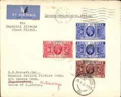 "(GB External) Imperial Airways, late supplementary mail for South Africa ONLY, the first IAW London-Brindisi air service (previously this leg had been by rail), and the first ""All Air"" England-South Africa service. London to Johannesburg, 25/5 arrival ds on front, plain cover addressed to Gaumont British Picture Corp, c/o Thomas Cook, nice strike purple oval 'Thos Cook/Wagons Lit (South Africa)/25 May 1935' hs verso, franked Silver Jubilee 1d, 1 1/2d and 2 1/2d x2, postmaked Ealing London 4pm 15 May 35, typed ""London-Brindisi-S.Africa/via Imperial Airways First Flight"". A superb item. See Morton D., p51, for a detailed account of this flight which includes a copy of the circular issued by IAW on May 1st regarding this service."