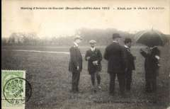 """(Belgium) Stockel Aviation Meeting, special B&W picture card franked Belgium 1c tied by 'Anvers/4 Aout 10' /Depart' cds, picture side shows """"Meeting d'Aviation de Stockel - Juillet -Aout 1910 - Kinet, sur le champ d'Aviation"""" ."""