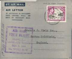 "(Jamaica) British South American Airways, first flight, Jamaica to London via Bermuda, no arrival ds, Air Letter 6d rate, square purple cachet ""Air Mail/First Flight/Jamaica/London-via Bermuda/Sep 5, 1940/via Speedman"", also ms '11/12' suggesting only 12 flown. This cover is Illustrated on p22, Beith R."