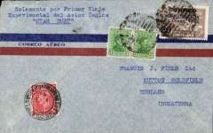 "(Uruguay) British South American Airways, first BSAA mail from Uruguay, Montevideo to London, 1/2 arrival ds on front, airmail cover franked 26c, typed 'Solamentte por Primer Vaje/Experimental del Avion Ingles/""Star Dust""'. This cover is Illustrated on p23 Beith R.  Star Dust  was a British South American Airways (BSAA) Avro Lancastrian airliner which later disappeared in mysterious circumstances on 2 August 1947 during a flight from Buenos Aires, Argentina to Santiago, Chile.  In the late 1990s, pieces of wreckage from the missing aircraft began to emerge from glacial ice in the Andes mountains near Santiago."