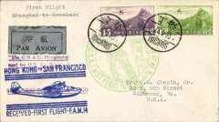 "(China) F/F FAM 14 China Clipper, Shanghai to San Francisco, bs 4/5, franked $1.45, fine official green ""China-USA First Flight"" circular cachet,  fine blue ""Hong Kong to San Francisco....."" cachet , also nice violet ""Via CNAC - Hongkong/and by US Air Service"" and ""Shanghai to San Francisco"" cachets also on front. Super item."
