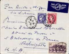 """(France) WWII uncensored airmail, Cannes to Washington, DC, airmail etiquette cover with Hotel Savoy logo on flap, addressed to the Press Attache at Vichy French Embassy, Washington, franked 14F59, ms 'Par Avion - Clipper/via Lisbon'. The attache came under the influence of British spy CYNTHIA - see A Man Called Intrepid, The Secret War 1939/45, pp 337-339.  Amy Elizabeth """"Betty"""" Thorpe (22 November 1910 – 1 December 1963) was, according to William Stephenson of British Security Coordination, an American spy, codenamed """"Cynthia,"""" who worked for his agency during World War II. Thorpe used the access gained by her romantic relationships to obtain codes from the Vichy French embassy in Washington which assisted the Allied invasion of North Africa. A great WWII item."""