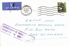 "(Uganda) Kampala to Dar es Salaam, no arrival date, cover franked 15, airmail etiquette cancelled in red, purple framed ""Insufficiently Prepaid 'For Air'/Diverted to Surface Mail""."