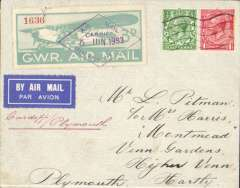"""(GB Internal) Great Western Railway, non philatelic mail carried from Cardiff to Plymouth, plain cover franked GB 1 1/2d and first British air stamp, pale blue-green/white GWR 3d Air Stamp cancelled violet framed """"Air Mail/Cardiff 5 Jun 1933/Great Western Railway"""". Verso large red/white/black/blue vignette advertising Buying Bristol Goods, and Holidays in Brighton. Non philatelic mail is uncommon."""