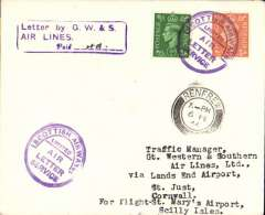 (GB Internal) Stornoway, Scotland to the Scilly Isles, double air letter carried from Stornoway to Glasgow by Scottish Airways, and from Land's End to Scilly Isles by Great Western and Southern Airlines. Plain cover franked  2 1/2d canc violet circular 'Scottish Airways Ltd/Air Letter Sercice hs, Renfrew 6/2 arrival ds on front and violet framed 'Letter by G.W.& S./Air Lines/Paid (ms) 4d'. Only 25 flown. Illustrated p8, Lister P, 1994.