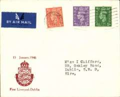 (GB Internal) Liverpool-Dublin air service, F/F London-Dublin, souvenir cover franked 5 1/2d, canc London machine postmark, no arrival ds, etiquette, operated jointly between West Coast Air Services and Aer Lingus.