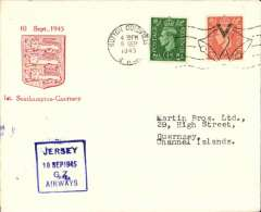 (GB Internal) Channel Island Airways, first airmail service Southampton to Guernsy, no arrival ds, souvenir cover franked  2 1/2d, official blue square cachet.