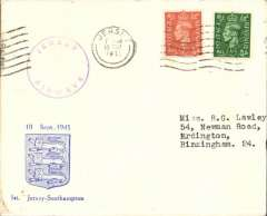 (Channel Is) Channel Island Airways, first airmail service Jersey to Southampton, no arrival ds, souvenir cover franked  2 1/2d, official violet circular cachet.